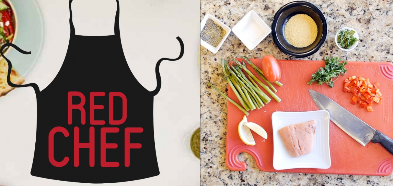 Red Chef logo and meal