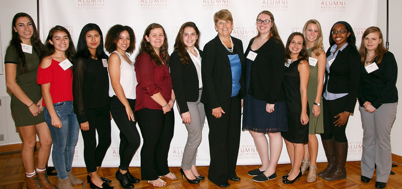 Janet Perna with scholarship recipients