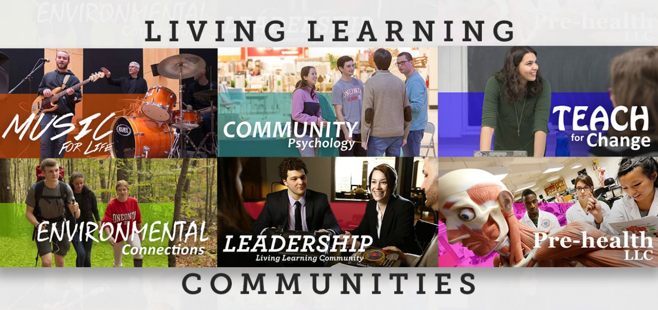 Collage of photos representing six Living Learning Communities