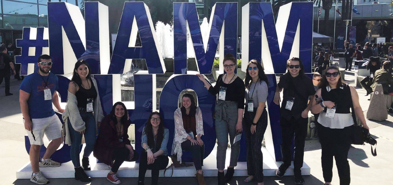 Oneonta students at the 2019 NAMM Show