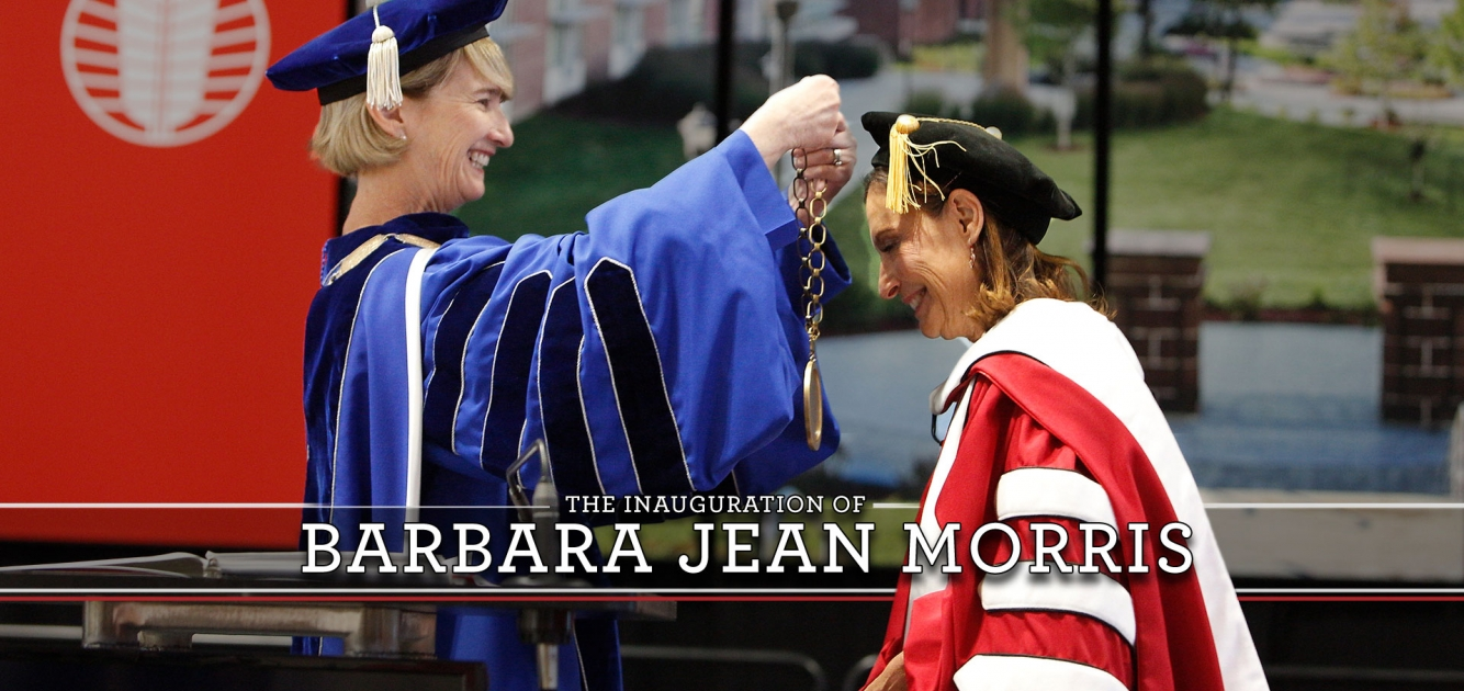 SUNY Chancellor places medallion on Barbara Jean Morris