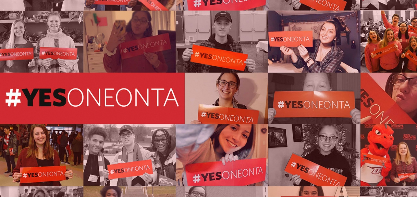 collage of students holding #yesoneonta banners