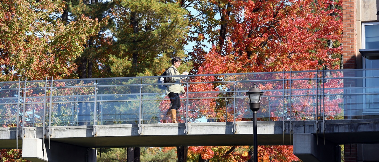 Student walking along the bridge to Fitzelle Hall in the Fall.