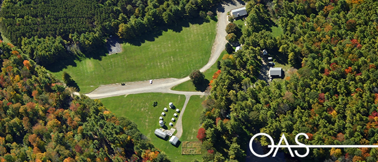 Overhead view of the college campsite