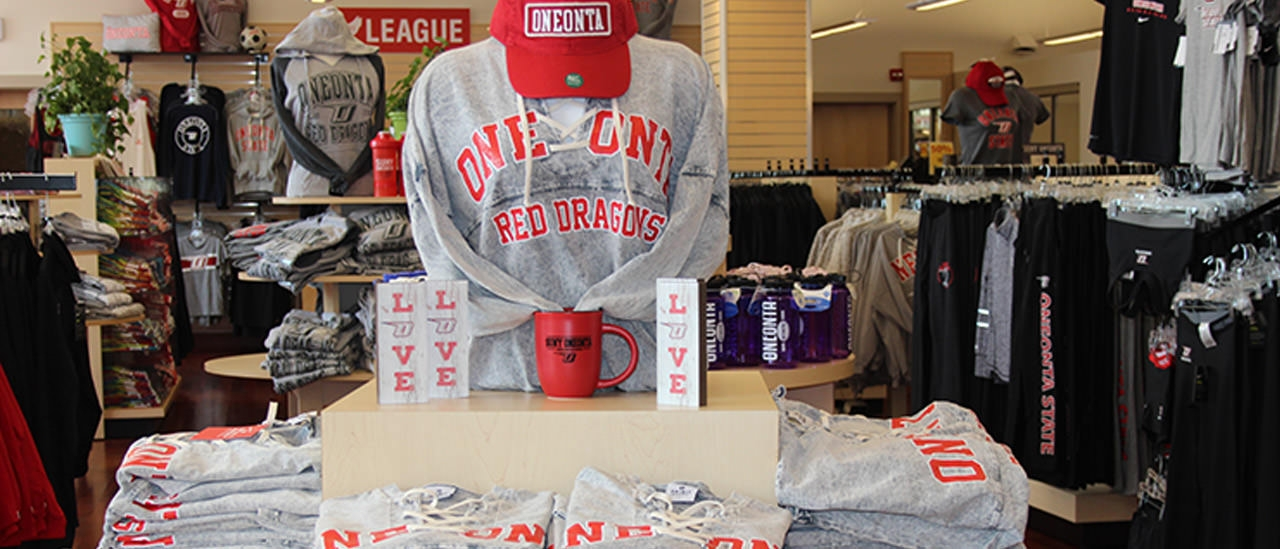 Red dragon merchandise on display at Red Dragon Outfitters