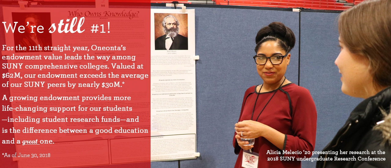 Alicia Melecio '20 presenting her research at the 2018 Undergraduate Research Conference