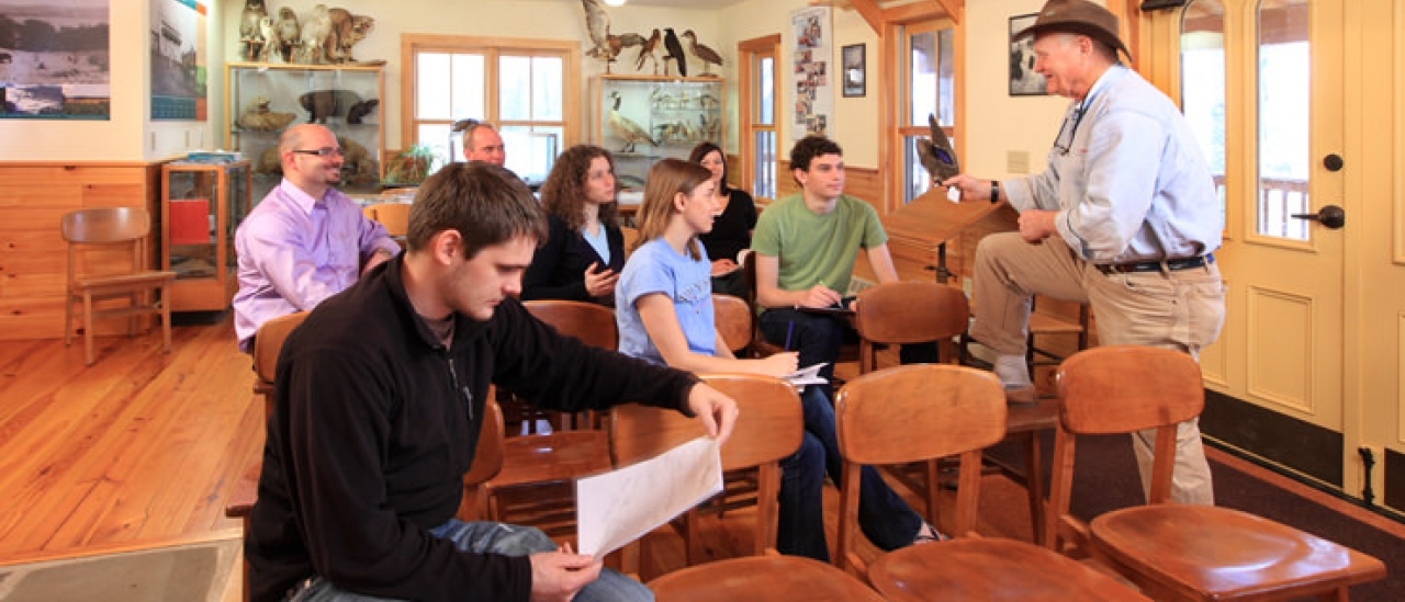 Dr. Bill Harman teaching a class at the Biological  Field Station