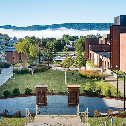 SUNY Oneonta campus view from above the main quad