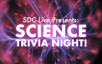"White text reading ""SDC Live Presents Science Trivia Night"" in front of purple plasma radiating from a central point."