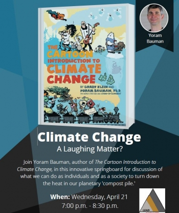 The cover of The Cartoon Introduction to Climate Change and a small photo of Yoram Bauman.