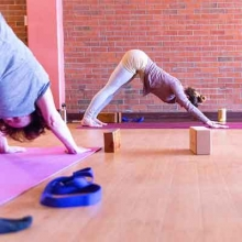 Two people doing the downward dog pose on yoga mats.