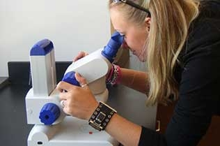 Student using a microscope.