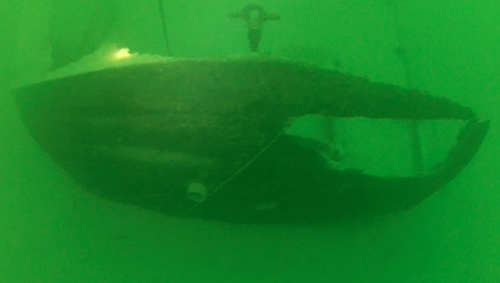 Under side photo under water of the Ship Wreck