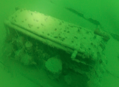 Underwater photo of the engine of the Ship Wreck