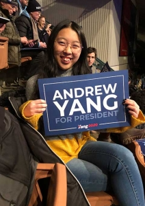 Mary Brown with Andrew Yang sign