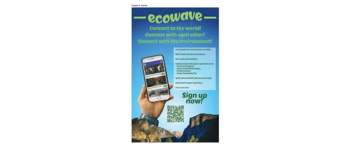 "A poster depicts a light-skinned hand holding a smart phone. The screen shows an ""Ecowave"" app, described as an opportunity to ""connect to the world, connect with each other, and connect with the environment""."