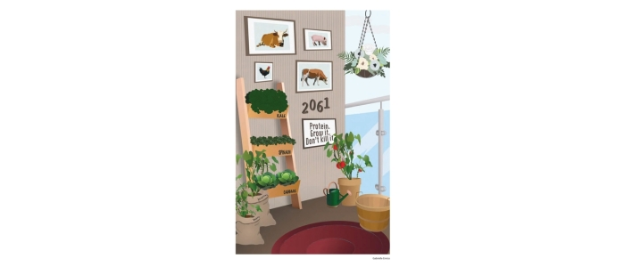 "A variety of labeled vegetables grow on a porch with a dark red rug. A beige wall features several images of farm animals and text that reads ""2061. Protein. Grow it. Don't kill it""."