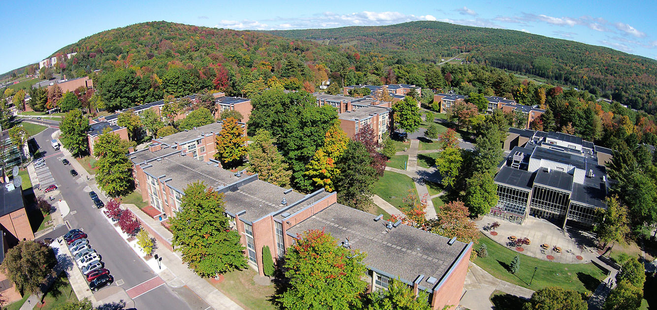 Aerial view of the buildings on West Dorm Drive.