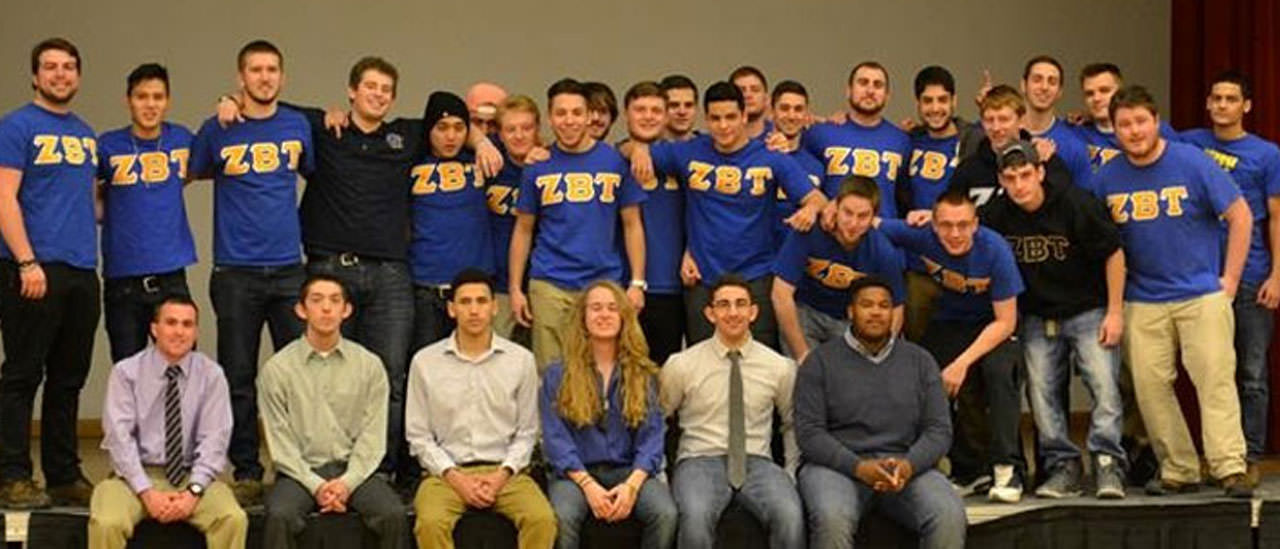 Group of guys from the Zeta Beta Tau fraternity posing for a picture.