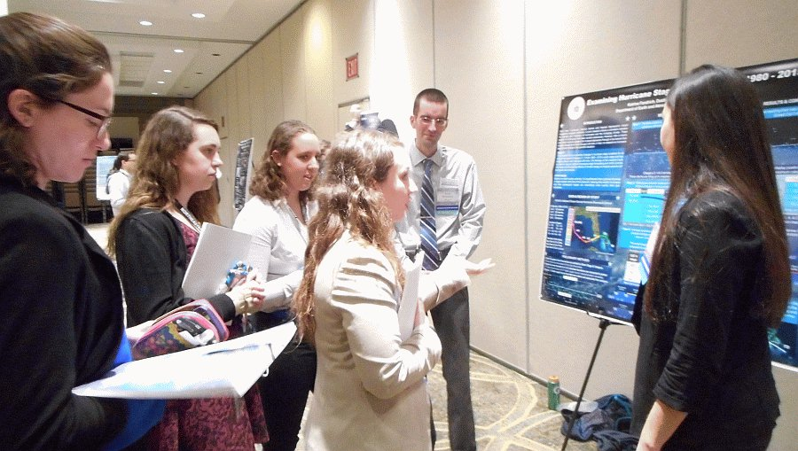 Students presenting research poster at conference