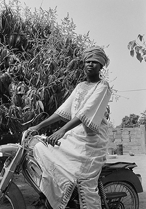 """Koritimi on Motorbike, 1973"" Beryl Goldberg photograph"