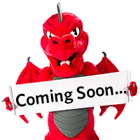 Red the dragon holding a sign that says coming soon