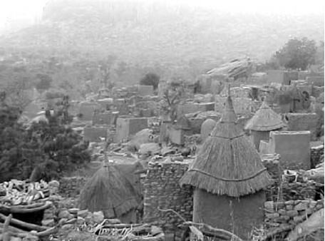 A dogon village filled with straw huts