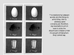 An egg, a hat, and a glass in two columns