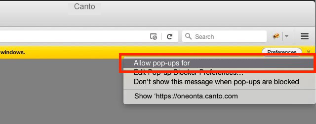 Allow Pop-Up in Firefox Browser