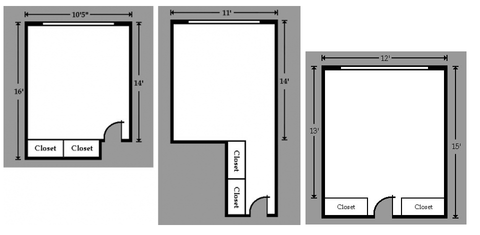 Picture is the dimensions of three different double style rooms