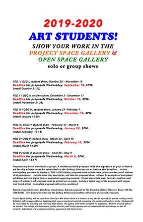 Oneonta Finals Schedule Spring 2020.Annual Juried Student Art Show Project Space Gallery M M