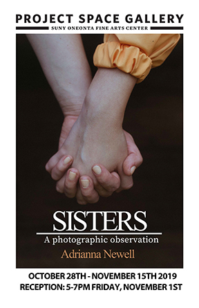 Exhibition poster for Sisters a photographic observation by Adrianna Newell