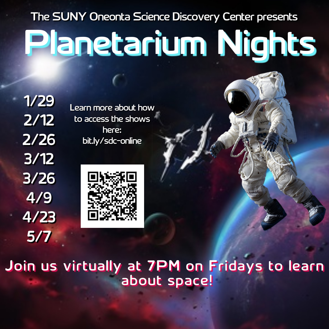 An astronaut drifting in space with text listing the dates for planetarium shows.